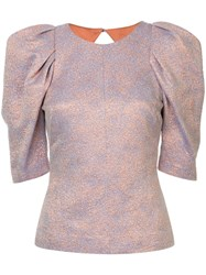 Ginger And Smart Cause Effect Jacquard Top Pink And Purple