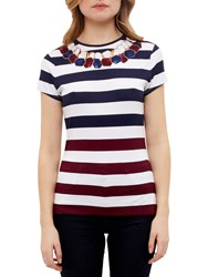 Ted Baker Danilyn Rowing Stripe Fitted T Shirt Navy