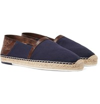 Berluti Esteban Leather Trimmed Canvas Espadrilles Navy