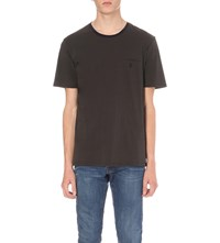The Kooples Embroidered Jet Pocket Cotton Jersey T Shirt Grey