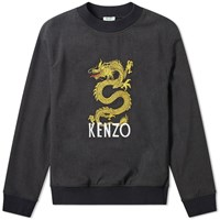 Kenzo Woven Dragon Embroidered Crew Sweat Grey