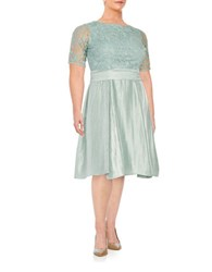 Adrianna Papell Plus Embroidered Fit And Flare Dress Icy Mint