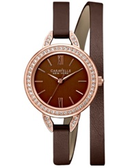 Caravelle New York By Bulova Women's Brown Leather Double Wrap Strap Watch 28Mm 44L130 Women's Shoes