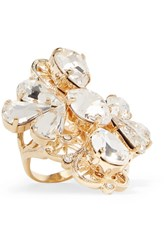 Dolce And Gabbana Gold Tone Crystal Ring 50