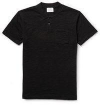 Steven Alan Slub Cotton Jersey Henley T Shirt Black