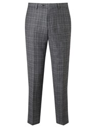 John Lewis Italian Super 110S Wool Milled Check Tailored Suit Trousers Grey
