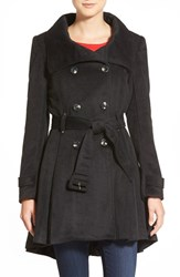 Women's Steve Madden Textured Double Breasted Skirted Coat Black