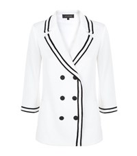 St. John Contrast Trim Pea Jacket Female