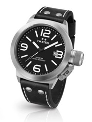 Tw Steel Canteen 45Mm Stainless Steel And Leather Strap Watch Black