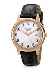 Tissot Carson Goldtone Stainless Steel And Leather Automatic Watch Gold Brown