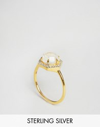 Carrie Elizabeth Hexagon Moonstone And Diamond Ring Gold