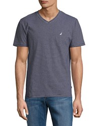Nautica Slim Fit Striped V Neck Tee Navy
