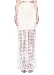 Alice Olivia 'Misha' Lace Sheer Hem Maxi Skirt White