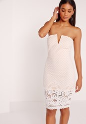 Missguided Lace Bandeau Midi Dress Nude White