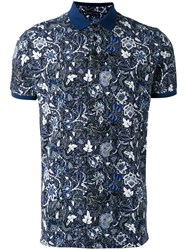 Etro Floral Print Polo Top Blue