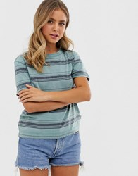 Quiksilver Boxy Striped Tee In Blue