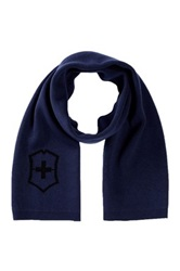 Victorinox Cross And Shield Intarsia Scarf Blue