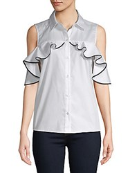Saks Fifth Avenue Black Ruffle Cold Shoulder Top White