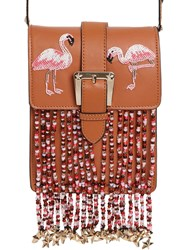 Red Valentino Flamingo Leather Bag W Beaded Fringe