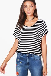 Boohoo Rosie Striped V Neck T Shirt Black