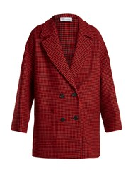 Red Valentino Double Breasted Hound's Tooth Wool Blend Coat Red