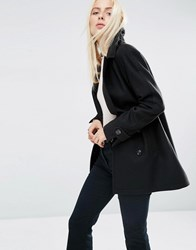 Asos Double Breasted Peacoat Black