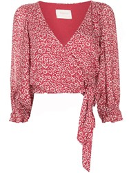 Auguste Marlowe Frida Cropped Blouse Red