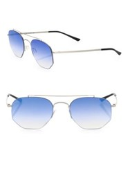 Kyme 52Mm Hexagon Sunglasses Silver Blue