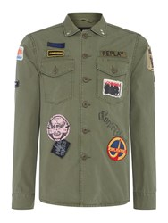 Replay Men's Jacket With Patches And Back Print Sage Green