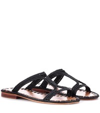 Carrie Forbes Raffia Sandals Black