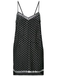 Adam Selman Heart Print Slip Dress Black