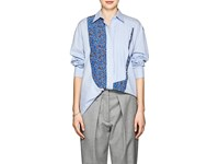 Cedric Charlier Striped And Floral Cotton Poplin Blouse Blue Pat.