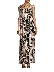 Bcbgmaxazria Animal Printed Strappy Gown Bare Pink Combo