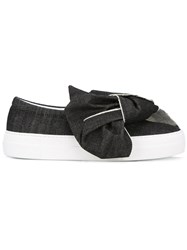 Joshua Sanders Bow Denim Slip On Sneakers Black