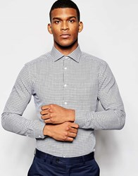 Reiss Dogtooth Shirt In Slim Fit Grey