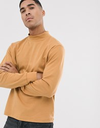 Another Influence High Neck Long Sleeve Top Tan