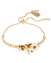 Lonna And Lilly Gold Tone Flower Slider Bracelet Pearl