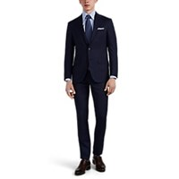 Sartorio Striped Wool Two Button Suit Navy