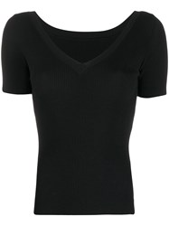 P.A.R.O.S.H. V Neck Knitted Top Black