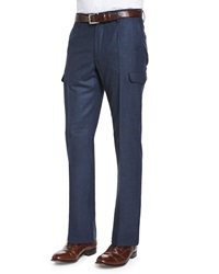 Incotex Donegal Flannel Cargo Trousers Navy