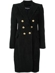 Balmain Peaked Lapel Button Up Coat Black