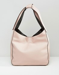 Asos Slouch Shoulder Bag With Tie Detail Pink