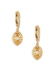 Temple St. Clair Evil Eye Diamond And 18K Yellow Gold Drop Earrings