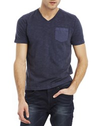 Kenneth Cole Acid Washed Pocket T Shirt Blue Cave