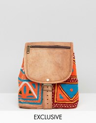 Reclaimed Vintage Leather And Tapestry Mix Backpack Multi