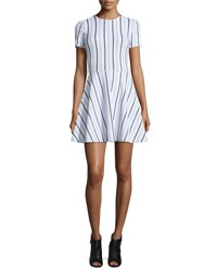 Opening Ceremony Clos Short Sleeve Striped Circle Dress White Multicolor White Multi