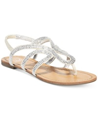 Material Girl Serena Flat Thong Sandals Only At Macy's Women's Shoes Silver