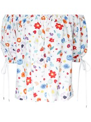 G.V.G.V. Printed Off Shoulder Blouse White
