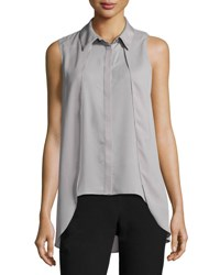 Tahari By Arthur S. Levine Collard Sleeveless Crepe Blouse Gray