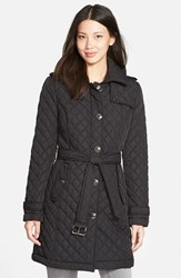 Petite Women's Michael Michael Kors Belted Quilted Coat With Detachable Hood Black